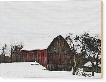 Red Barn In Snow Wood Print by Bill Cannon