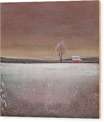 Red Barn In Snow Wood Print by Toni Grote