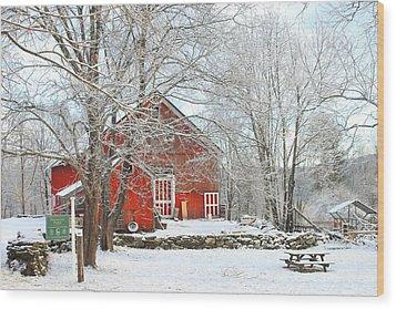 Red Barn In Winter Wood Print by John Burk