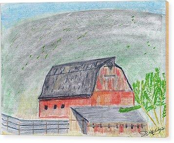 Red Barn Wood Print by John Hoppy Hopkins