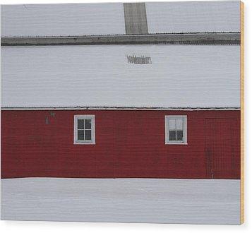 Red Barn  Wood Print by Julie Lueders