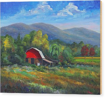 Red Barn On Cane Creek Wood Print by Jeff Pittman