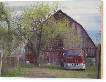 Red Barn Red Truck Wood Print by Toni Hopper