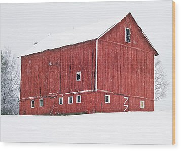 Red Barn Snow Storm  Wood Print by Tim Fitzwater