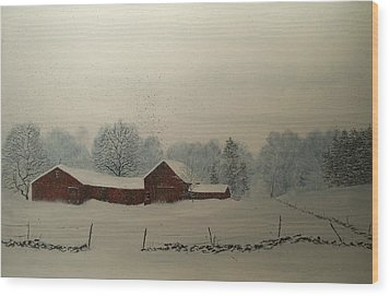 Wood Print featuring the painting Red Barn Storm by Ken Ahlering