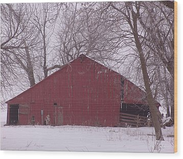 Red Barn Trees Snow Wood Print
