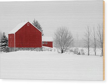 Red Barn Winter Landscape Wood Print by Cathy  Beharriell