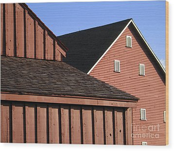 Red Barns And Blue Sky With Digital Effects Wood Print by William Kuta