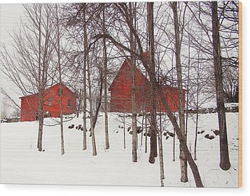 Red Barns Wood Print by Betsy Zimmerli