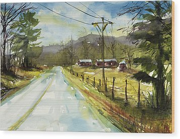 Red Barns On The Right Wood Print by Judith Levins
