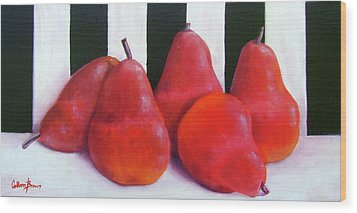 Red Bartletts Wood Print by Colleen Brown