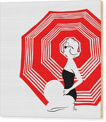 Wood Print featuring the digital art Red Beach Umbrella by Cindy Garber Iverson