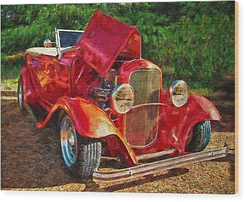 The Red Bell Roadster Wood Print