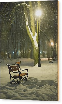 Red Bench In The Park Wood Print by Jaroslaw Grudzinski