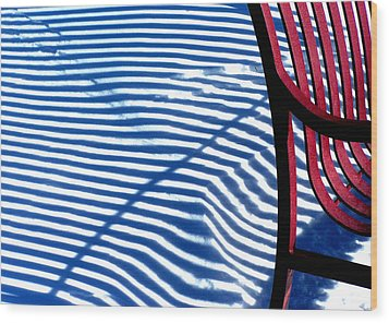 Red Bench Wood Print by Steven Huszar