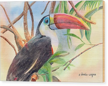 Red-billed Toucan Wood Print by Arline Wagner