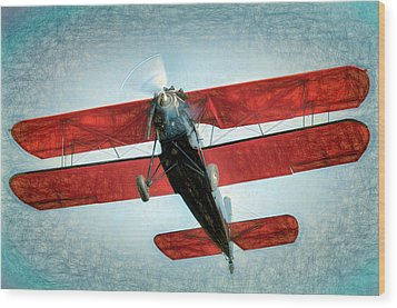 Wood Print featuring the photograph Red Biplane by James Barber