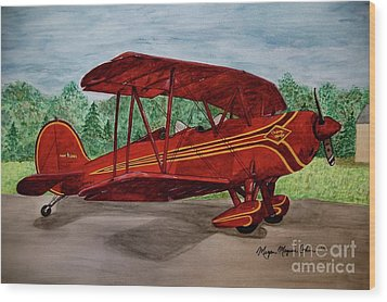 Red Biplane Wood Print by Megan Cohen