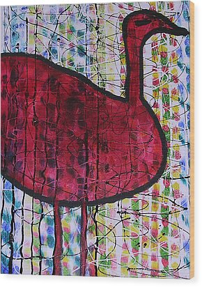 Red Bird 2 Wood Print by Russell Simmons