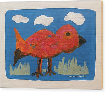 Red Bird In Grass Wood Print by John Williams