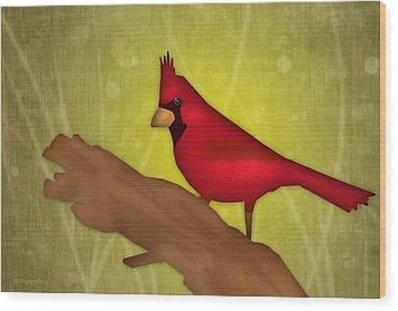 Red Bird Wood Print by Melisa Meyers
