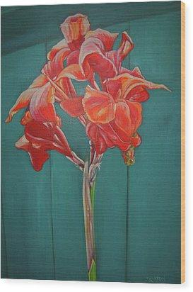 Red Bloom Wood Print by John Keaton