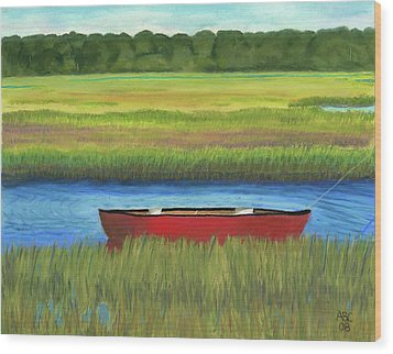Red Boat - Assateague Channel Wood Print by Arlene Crafton