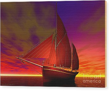 Red Boat At Sunset Wood Print by Sandra Bauser Digital Art