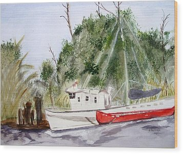 Red Boat Wood Print by Barbara Pearston