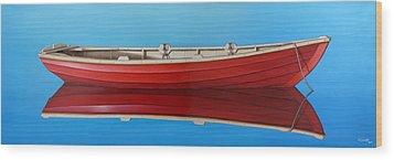 Red Boat Wood Print by Horacio Cardozo