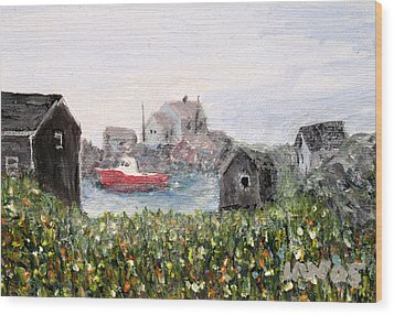 Red Boat In Peggys Cove Nova Scotia  Wood Print
