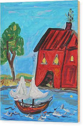 Red Boathouse And Red Sailboat Wood Print by Mary Carol Williams