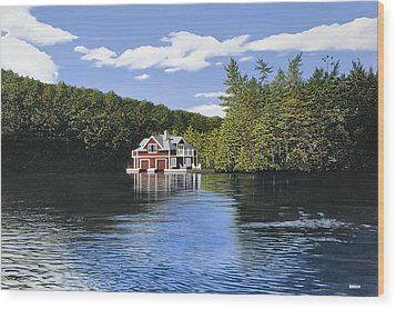 Red Boathouse Wood Print by Kenneth M  Kirsch