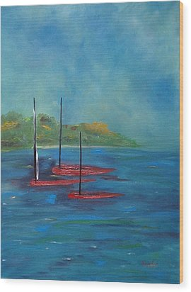 Wood Print featuring the painting Red Boats by Judith Rhue