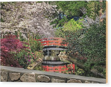 Wood Print featuring the photograph Red Bridge Spring Reflection by James Eddy
