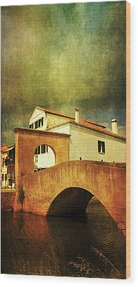 Wood Print featuring the photograph Red Bridge With Storm Cloud by Anne Kotan