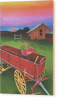 Red Buckboard Wagon Wood Print by Stephen Anderson