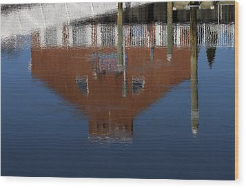 Red Building Reflection Wood Print by Karol Livote