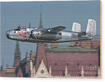 Red Bull North American B-25j Mitchell Wood Print by Anton Balakchiev