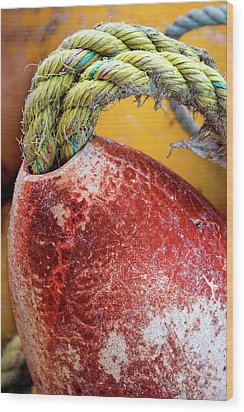 Wood Print featuring the photograph Red Buoy Closeup by Carol Leigh