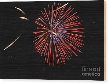 Red Burst Wood Print by Norman Andrus