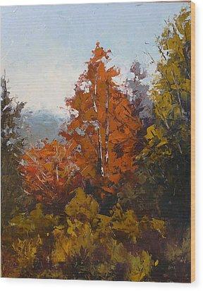 Red Bush Wood Print by Yvonne Ankerman