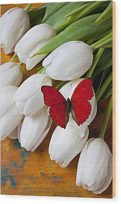 Red Butterfly On White Tulips Wood Print by Garry Gay