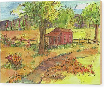 Wood Print featuring the painting Red Cabin In Autumn  by Cathie Richardson