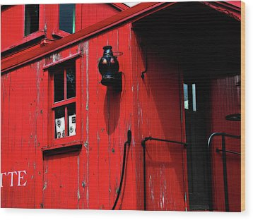 Red Caboose Wood Print by Scott Hovind