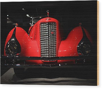 Red Cadillac Wood Print by Transportation Photographs