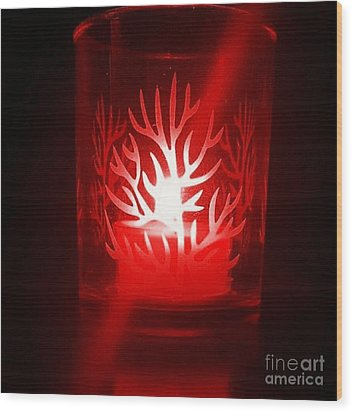 Red Candle Light Wood Print