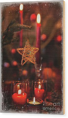 Wood Print featuring the photograph Red Candles  by Elena Nosyreva