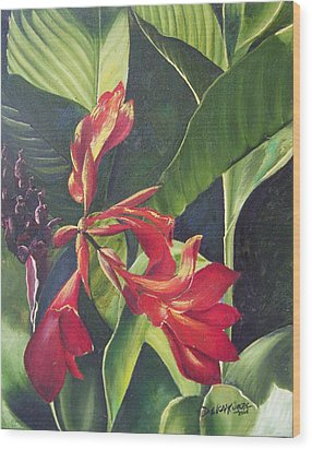 Red Cannas Wood Print