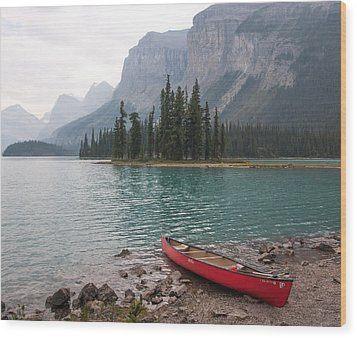 Red Canoe Wood Print by Catherine Alfidi